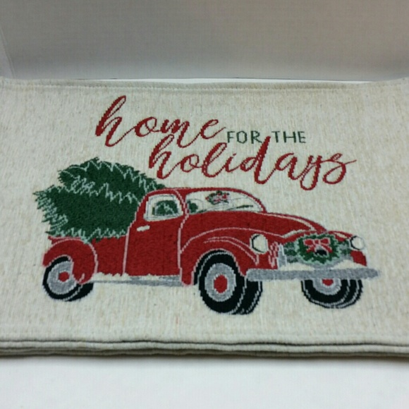 Vintage Red Truck Christmas Placemats.Holiday Cottage Chenille Placemats Nwot